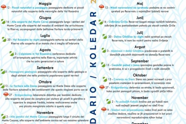 Unito Calendario Didattico.Calendario Eventi 2019 Riserva Valrosandra Dolina Glinscica