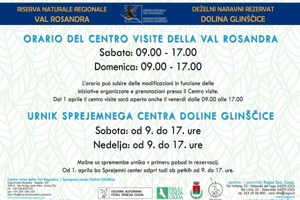 Orario Centro visite della Val Rosandra